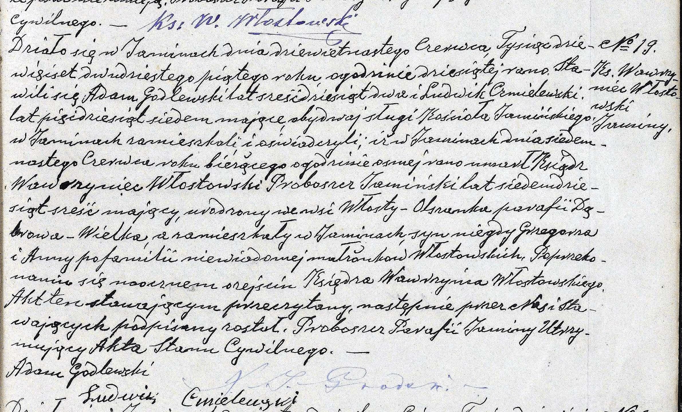 Akt zgonu ks. Wawrzyńca Włostowskiego z 1925 roku. Na górze widać jego ostatni podpis złożony pod poprzednią metryką.