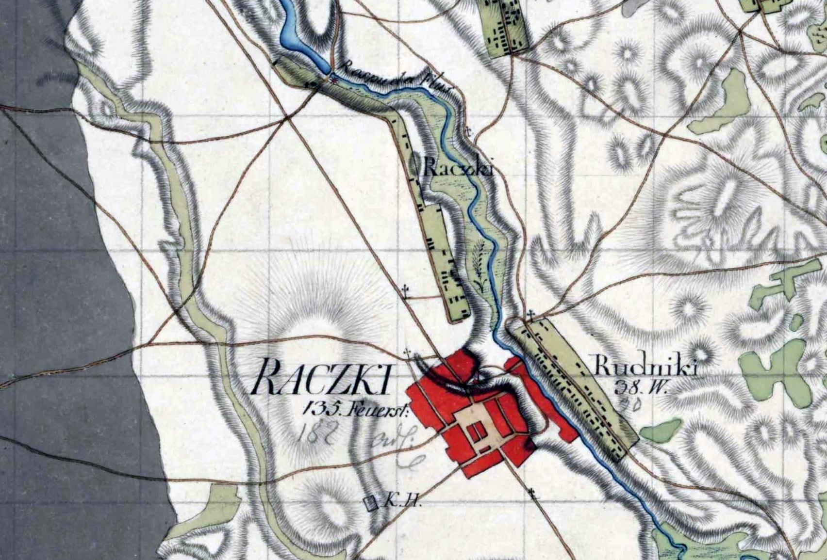 Miasto i wieś Raczki na pruskiej mapie wojskowej z lat 1795-1805.