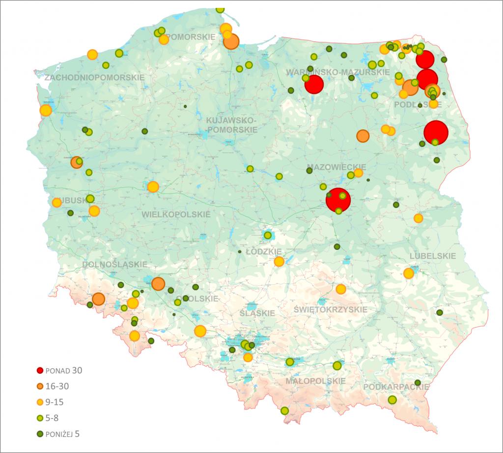 Rozmieszczenia nazwiska Bernatowicz na terenie Polski