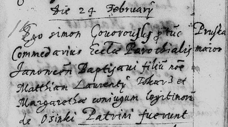 Janówka – indeksy chrztów z lat 1619-1645