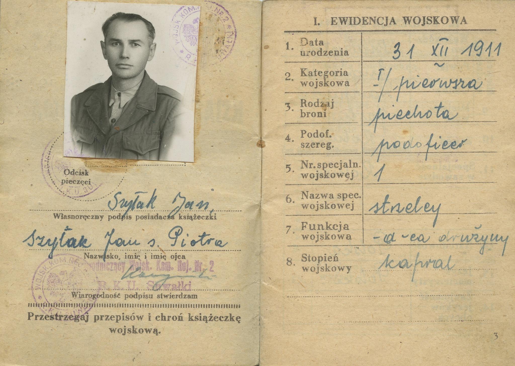 Fragment książeczki wojskowej.