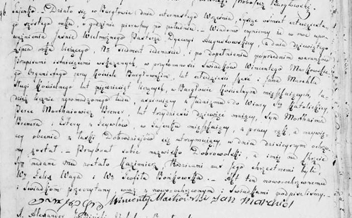 Konwersja Perce Morthaiowicz Brenera na Kazimierza Dobrowolskiego. Jego rodzicami chrzestnymi byli szlachetni Feliks Waga i Teofila Bońkowka.