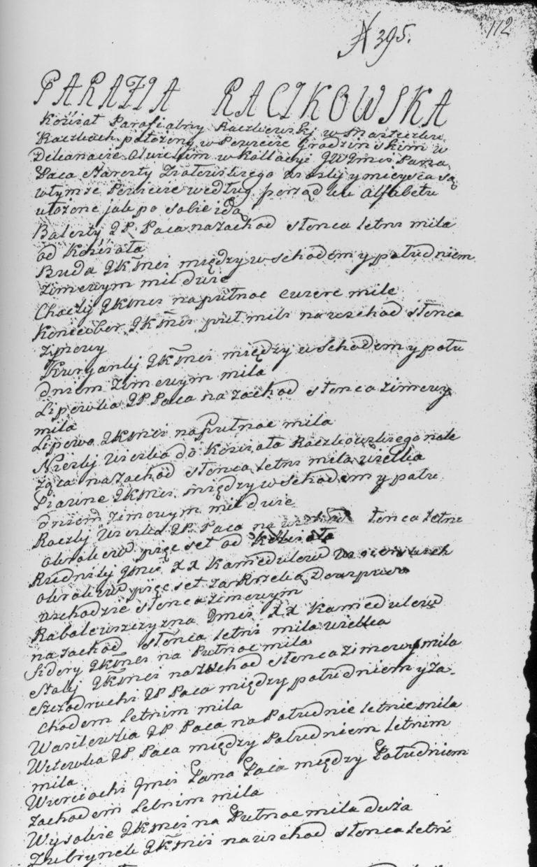Opis parafii raczkowskiej z 1784 roku