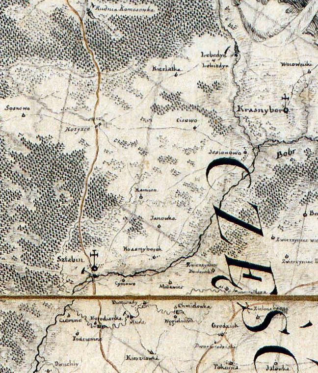 1. Krasnybór i okolice. Fragment Mapy szczególnej województwa podlaskiego (. . .) Karola de Perthees, 1795. AGAD, Zbiór Kartograficzny, AK 98.