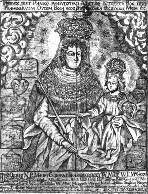 10. Przedstawienie cudownego wizerunku Matki Boskiej Krasnobarskiej wykonane w 1675 roku.