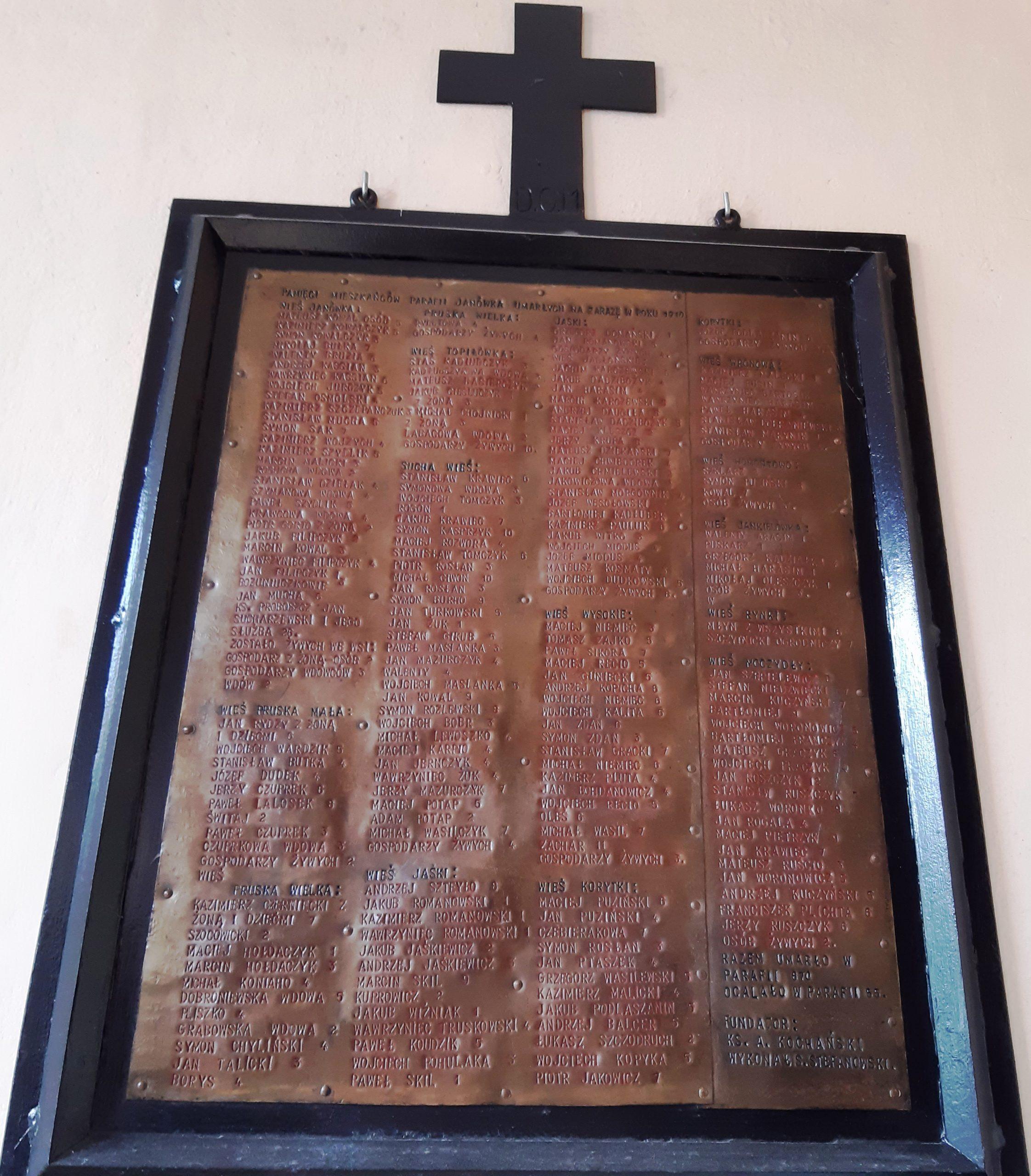 Tablica ze zmarłymi na zarazę w Janówce, fot. J. Drozdowska